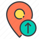 arrow, location, marker, navigator, pointer, up icon