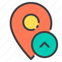 location, marker, navigator, pointer, up icon