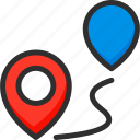 location, marker, pin, pointer, road, track, way icon