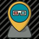 cinema, location, map, movie, pin, pointer icon