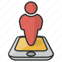 marker, navigation, people, phone, pin, pointer, user icon