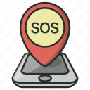 gps, help, map, navigation, phone, pin, sos icon