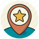 bookmark, direction, favorite, location, navigation, pin, star icon