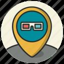cinema, entertainment, location, map, movie, pointer icon