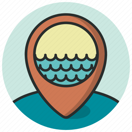 location, map, pin, pointer, port, river, sea icon