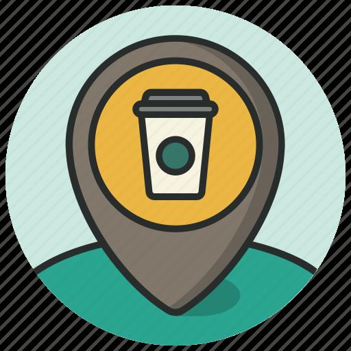 coffee, coffee shop, location, map, navigation, pin, poi icon