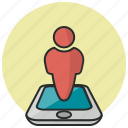 geolocalization, man in locator, man location, map pin, phone, user location icon