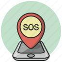 gps, help, location, navigation, phone, pin, sos icon