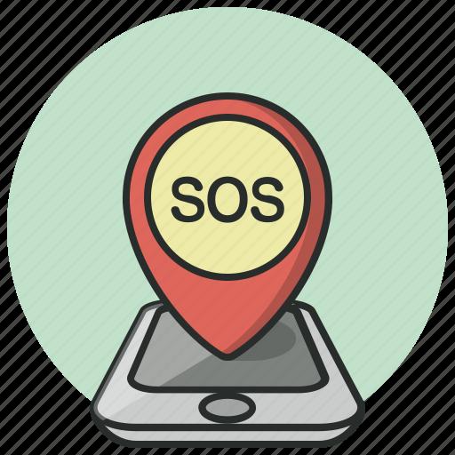 gps, help, location, navigation, phone, pin, sos icon