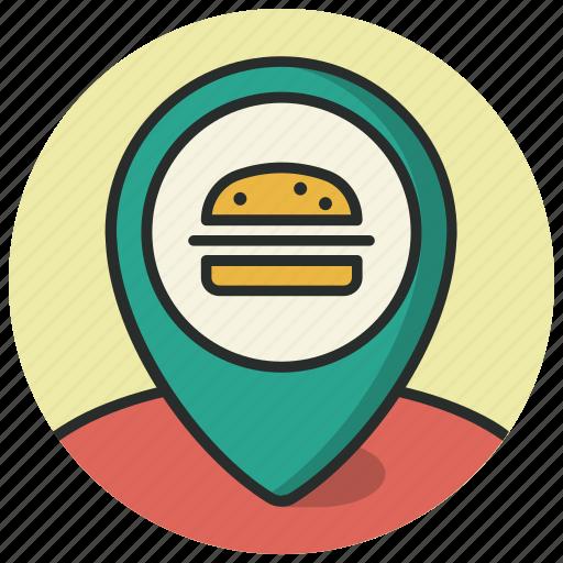 food, location, map, navigation, pin, poi, restaurant icon