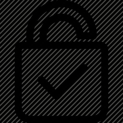 check, correct, lock, lock up, login, password icon