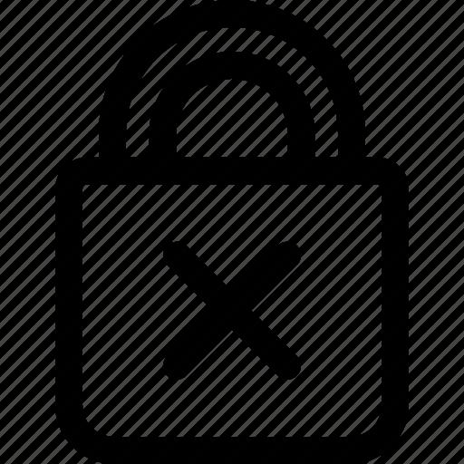block, cross, lock, login, password, wrong icon