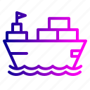 boat, container, deleivery, parcel, ship, transportation, vehicle
