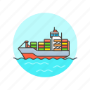 cargo, container, delivery, logistic, package, ship, transport, vehicle icon