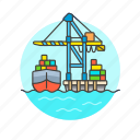 cargo, container, load, logistic, package, ship, transport, vehicle icon