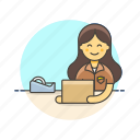delivery, inventory, logistic, package, storage, woman, wrap icon