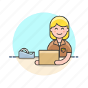 logistic, delivery, inventory, package, storage, woman, wrap icon