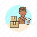 box, delivery, logistic, mailman, package, sign icon