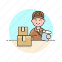 mailman, logistic, box, delivery, sign, package