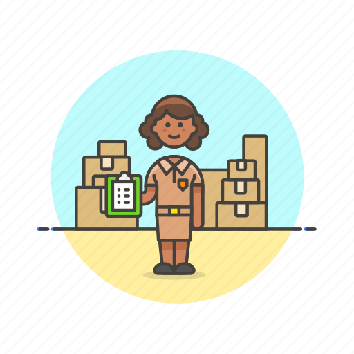 delivery, inventory, logistic, package, storage, warehouse, woman icon