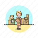 logistic, package, delivery, storage, warehouse, woman, inventory icon