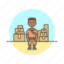 logistic, mailman, package, delivery, storage, warehouse, inventory icon