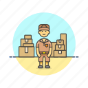 delivery, inventory, logistic, mailman, man, package, storage, warehouse icon