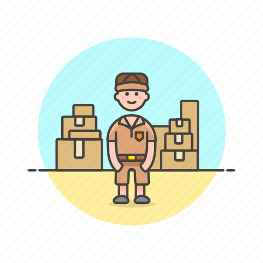 delivery, inventory, logistic, mailman, package, storage, warehouse icon