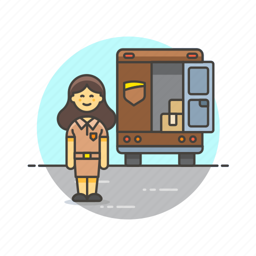cargo, delivery, logistic, package, transport, truck, vehicle, woman icon
