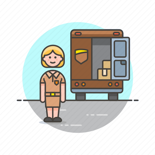 cargo, delivery, logistic, transport, truck, vehicle, woman icon