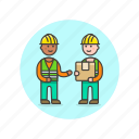 box, delivery, logistic, package, storage, warehouse, worker icon