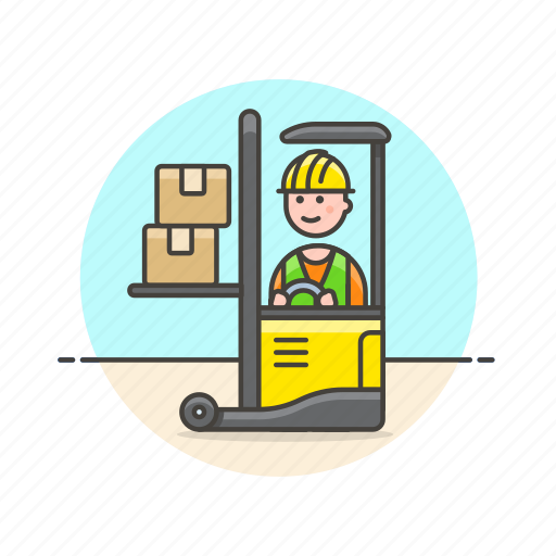 cargo, lift, logistic, man, package, transport, truck, vehicle icon