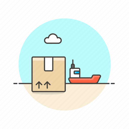 boat, cargo, delivery, logistic, package, ship, transport, vehicle icon