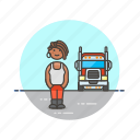african, american, driver, female, logistic, truck icon