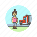 asian, driver, female, logistic, truck icon