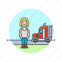 cargo, delivery, driver, logistic, transport, truck, vehicle, woman icon