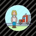 caucasian, driver, female, logistic, truck icon