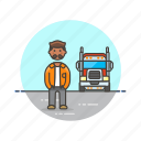 african, american, driver, logistic, male, truck icon