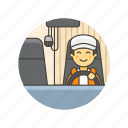 delivery, driver, logistic, man, transport, truck, vehicle icon
