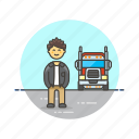 asian, driver, logistic, male, truck icon