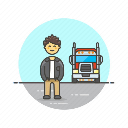 cargo, delivery, driver, logistic, man, transport, truck, vehicle icon