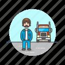 caucasian, driver, logistic, male, truck icon