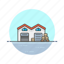 base, building, cargo, center, logistic, storage, warehouse icon