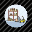 warehouse, shelf, lift, truck, logistic, cargo, transport, vehicle