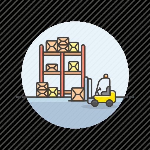 cargo, lift, logistic, shelf, transport, truck, vehicle, warehouse icon