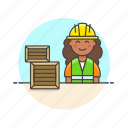 worker, logistic, warehouse, delivery, woman, storage, package