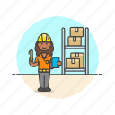 african, american, female, logistic, warehouse, worker icon