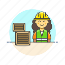 logistic, warehouse, worker, delivery, package, storage, woman icon
