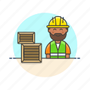 logistic, warehouse, worker, delivery, man, package, storage icon
