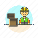 asian, logistic, male, warehouse, worker icon
